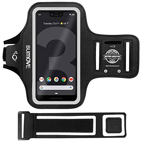 BUMOVE Pixel 3a XL/Pixel 3 XL/Pixel 2 XL/Pixel XL Armband, Gym Running/Workouts Arm Band for Google Pixel 3a XL/3XL/2XL/XL with Key/Card Holder (Black)