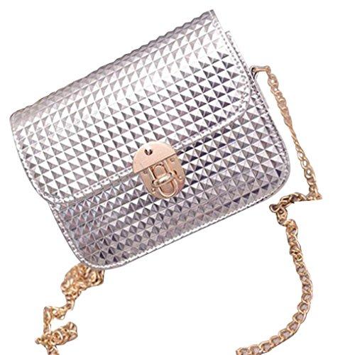 leather Messenger Retro Women TM Handbag Bag Satchel Shoulder Bag Silver DEESEE 6FqBnx8q