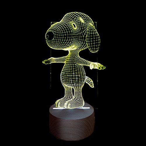 3D Visual Light, 7 Colors Touch Switch Remote Control Table Desk Lamp for Office Bars Clubs Rooms Home Theme Decoration Gift (7 Colors) (99) (Snoopy Club)