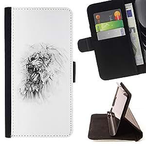 """Monster blanca minimalista del arte del bosquejo"""" Colorida Impresión Funda Cuero Monedero Caja Bolsa Cubierta Caja Piel Id Credit Card Slots Para Sony Xperia Z1 L39"""