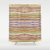 Rainbow Striped Abstract Art Shower Curtain. Boho gypsy style bathroom accessories . Matching bath set