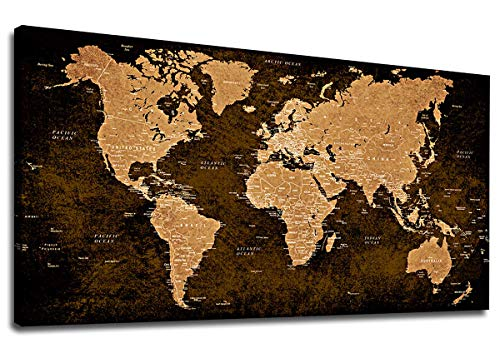"""Antique World Map Canvas Wall Art Bedroom Living Room Decoration Vintage Map Painting Prints Modern Artwork Vintage Map of The World Picture for Office Wall Decor Large Canvas Prints 20"""" x 40"""""""