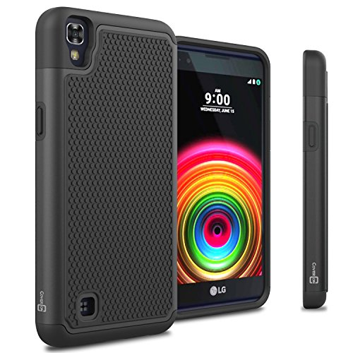 LG X Power Case, CoverON [HexaGuard Series] Slim Hybrid Hard Phone Cover Case for LG X Power K210 / K6P - Black