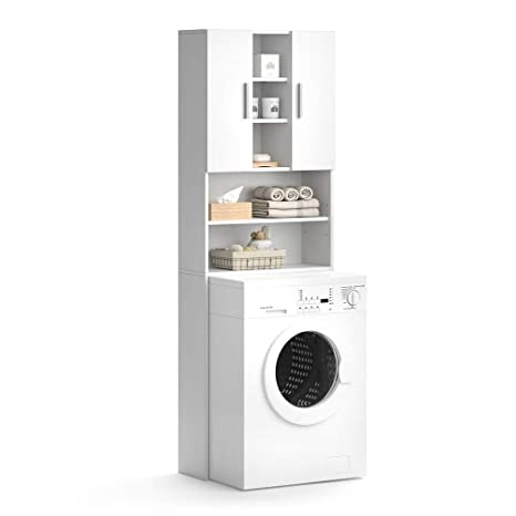 Vicco Waschmaschinenschrank Luis Weiß 190 x 64 cm - Badregal Hochschrank  Waschmaschine Bad Schrank Badezimmerschrank Überbau
