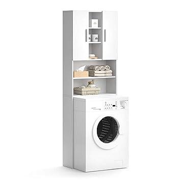 Vicco Waschmaschinenschrank Luis Weiß 190 x 64 cm - Badregal ...