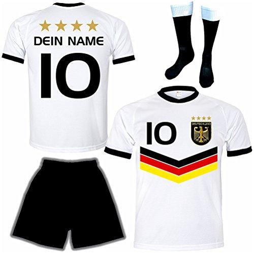 Meloo Deutschland Trikot + Hose + Stutzen Adler Muster mit Trikot Beschriftung für Herren und Kinder (140)