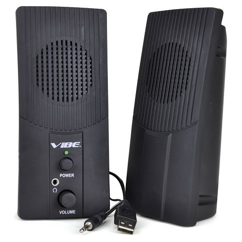 UPC 822248837497, VIBE Ultra Slim 2-Piece 2 Channel USB Powered Multimedia Speaker Set w/3.5mm Jack (Black)