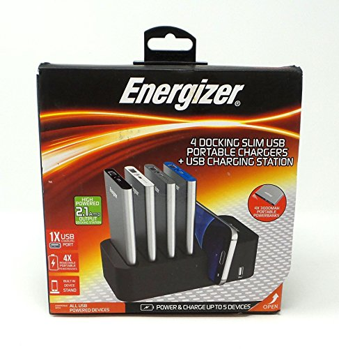 Energizer 4 Docking Slim USB Portable Chargers + USB Charging Station - Cell Energizer Charger Portable Phone
