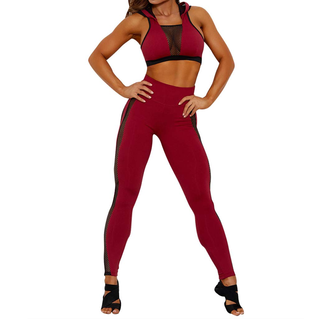 HEJANG Womens Perspective Yoga Hooded Sports Leggings Exercise Vest Trousers Fitness Set Elastic Tops+Pants