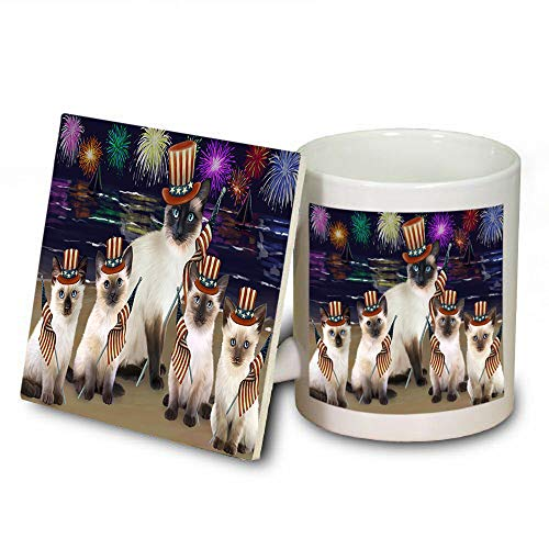 4th of July Independence Day Firework Siamese Cats Mug and Coaster Set MUC52447 (Independence Coasters Dishwasher Safe)