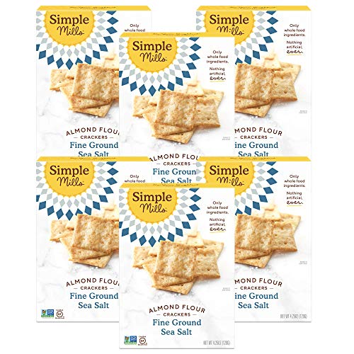 Simple Mills Almond Flour Crackers, Fine Ground Sea Salt, Gluten Free, Flax Seed, Sunflower Seeds, Corn Free, Good for Snacks, Made with whole foods, 6 Count (Packaging May Vary)