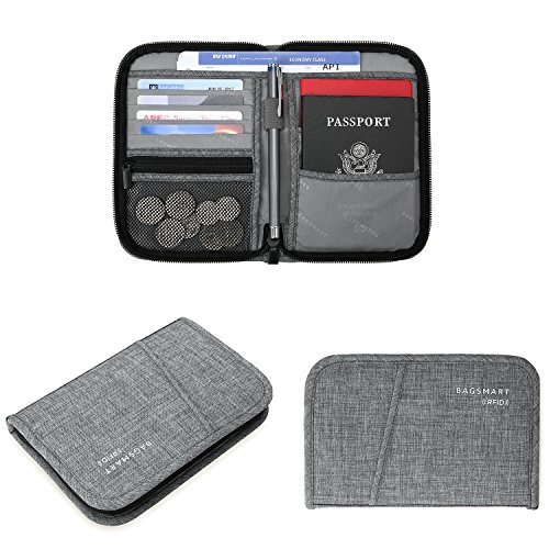 BAGSMART Travel RFID Blocking Wallet Passport Holder Cover Credit Card Organizer for Men and Women