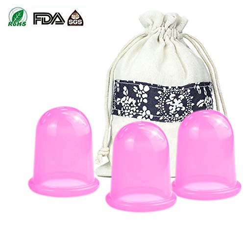 Anti Cellulite Cupping Therapy Set 3Pcs Silicone Vacuum Massage Cups - Chinese Cupping Kit for Body Massager for Adults Home - For Shaped Faces Glasses Different