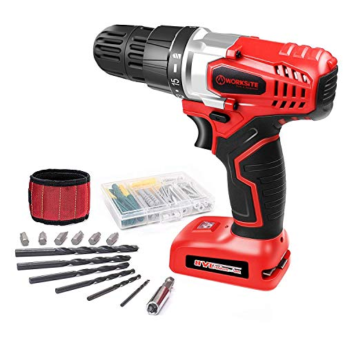 WORKSITE 8V Power Electric Cordless Drill Impact Rotary Drill Screwdriver Speed Variable Handle Drill with 16 Position Keyless Clutch, Built-in LED Light, 13 Pcs Bits Set, Magnet Wristband