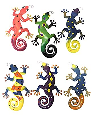 Decorative Metal Gecko Wall Plaques Set of 6