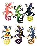 Decorative Metal Gecko Wall Plaques Set of 6