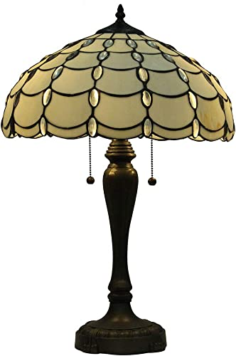 Mural Times Lighting Tiffany Style Lamp W16 H25 Inches Handmade Cream Stained Glass Crystal Pearl Bead Table Reading Light