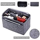 Purse Organizer, Felt Bag Organizer Insert For LV Speedy, Neverfull, Tote, Handbag,Shaper 6 Colors 3 Sizes (Large, Grey)