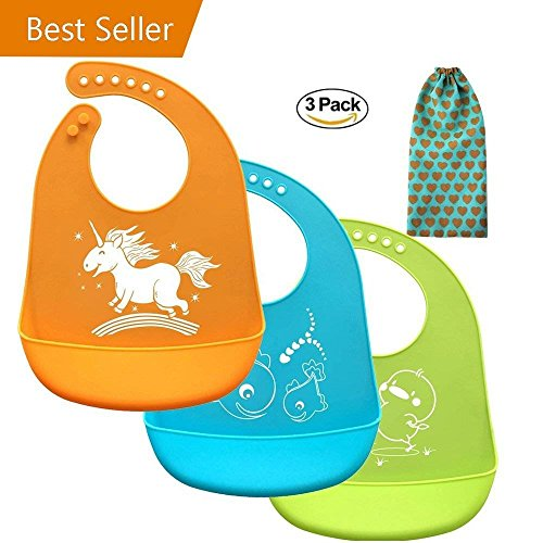 Baby bibs, Christmas Baby Gifts, Comfortable Soft Baby Bibs With Gift-Wrapping, Silicone Bibs for Newborns Infant Toddlers, Easily Wipes Clean ,Set of 3 Colors (3pcs, Silicone baby bibs) (Bib Newborn Toddler)