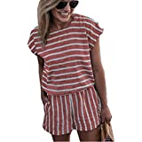 Asskdan Women's Summer Striped Jumpsuit Playsuit Casual Loose Short Sleeve Jumpsuit Rompers (M, Pink)