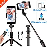 Yokkao Aluminum Alloy Water-Resistant Selfie Stick Extended Phone Mount|Detachable Bluetooth Remote Control | Collapsible Rugged Built-in Tripod / Monopod | iPhone 6/7/8/Plus/X/Xs, Samsung S4/S6/S7/S8/S9 + More