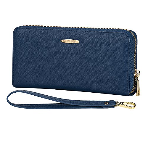 Women Card Wallet, COCASES RFID Blocking PU Leather Zip Purse Credit Card Organizer Cash Coin Pocket wrist Rope (Navy Blue)