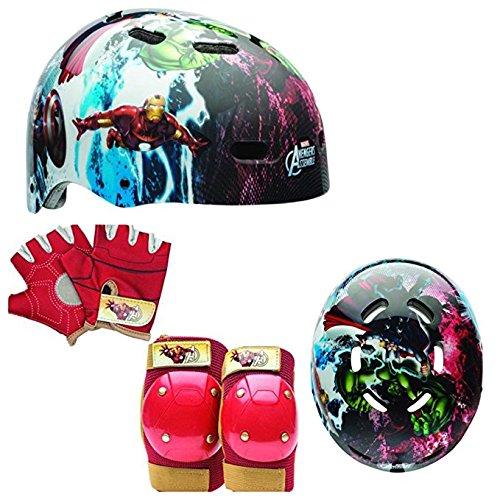 Marvel Avengers Kids Skate/Bike Helmet with Ironman Pads & Gloves - 7 Piece Set