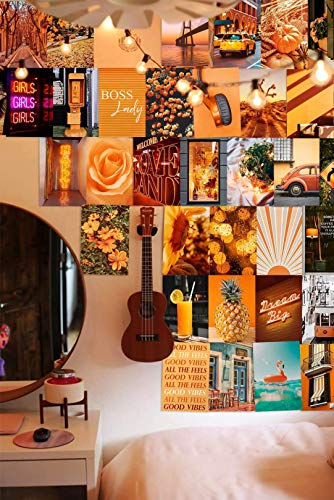 Orange Wall Collage Kit Aesthetic Pictures, Bedroom Decor for Teen Girls, Wall Collage Kit, Collage Kit for Wall Aesthetic, Wall Collage, Girls Bedroom Decor, Collage Kit, (50 PCS 4x6 in)