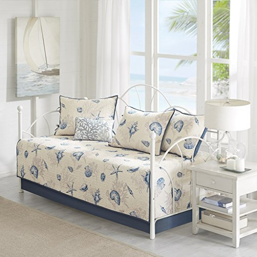 Madison Park Bayside Daybed Size Quilt Bedding Set – Blue, Khaki, Seashells – 6 Piece Bedding Quilt Coverlets – 100% Cotton Sateen Bed Quilts Quilted Coverlet