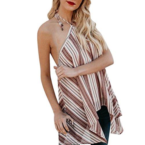 Sexyville Licou Dbardeur Femmes sans Manche Ray Impression Tops Dos Nu Irrgulier Hem Chemisier T-Shirt Vest Tank Beige
