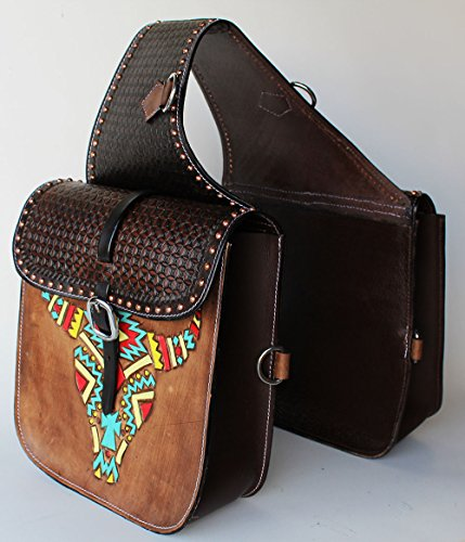 (PRORIDER Horse Western Saddle Bag OR Motorcycle Saddle Bags Hand Tooled Leather 10213)