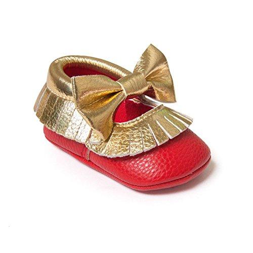 Avec Rouge Garcons En Souple 6 Tassel Cuir 6 Bobora 12 Premiers Bebe 18mois Or Pas Filles Chaussons Chaussures 12 0 Pour vCnqB