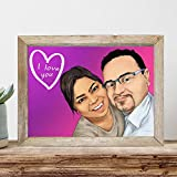 Custom Couple Portrait - Sentimental Long Distance Relationship Gifts - Special I Love You Presents For Boyfriend
