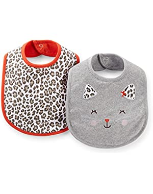 Baby Girls' 2-Pack Water Resistant Feeding Bibs (One Size, Spotted Cat)