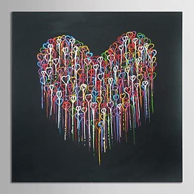 abstrait moderne toile peinte art fusion coeur peinture à l'huile à la main  avec cadre étiré chef-d'oeuvre de qualité de musée: Amazon.fr: Cuisine &  Maison