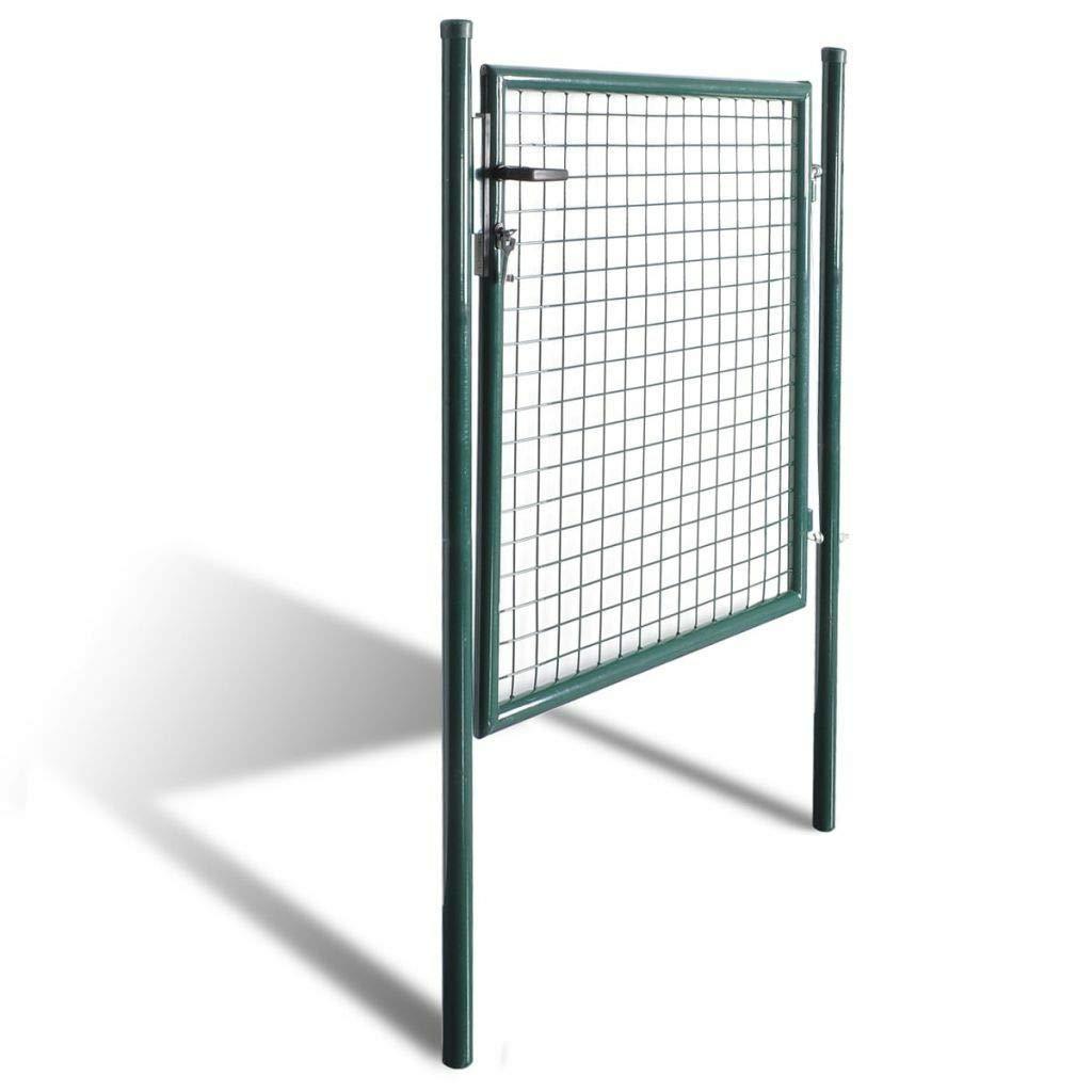Clever Market ガーデン シングルドア 金属製 パティオ エントリー ゲート 安定 耐久性 フェンス ゲート テラス 玄関 フェンシング ウォーク ドア 亜鉛メッキ スチール グリーン 39.4インチ x 98.4インチ 39.4