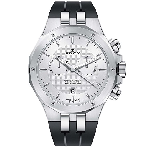 - Edox Men's Delfin The Original 43mm Black Rubber Band Steel Case Swiss Quartz Analog Watch 10110 3CA AIN