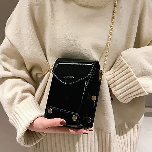 2019 De Regalo Valentin Mujer Bandolera Simple Remache Navidad Salvajebolso Moda Negro Bolso Y Verano primavera Para Pequeña bolsos Diagonal Cuadrada Bolsa bolsos Beikoard San wqxHX1Iz