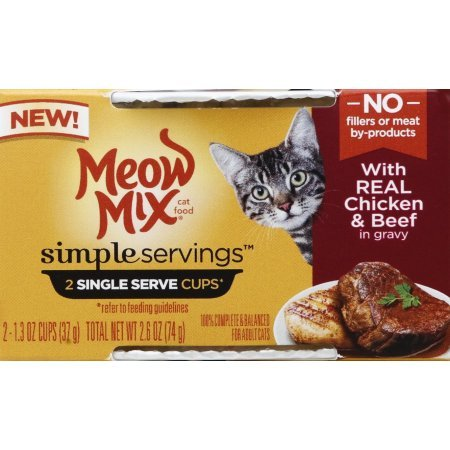 Meow Mix 4 Simple Servings with Real Chicken & Beef in Gravy (2-1.3 oz Cups per Pack) (Total 4 Packs =8 Individual Servings)