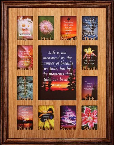 (12x16 ~ K-12 School Days/Years Picture Photo Collage Frame ~ Walnut Stained Oak Frame)
