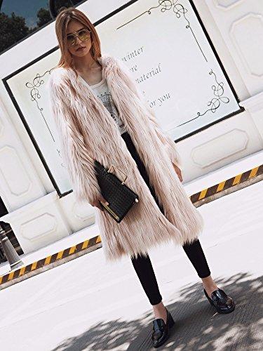 Hot Abbigliamento Fur Rosa Section capelli Llq Womens Coat Jacket Long Hooded Winter maniche lunghe Hair black tgzvwqC