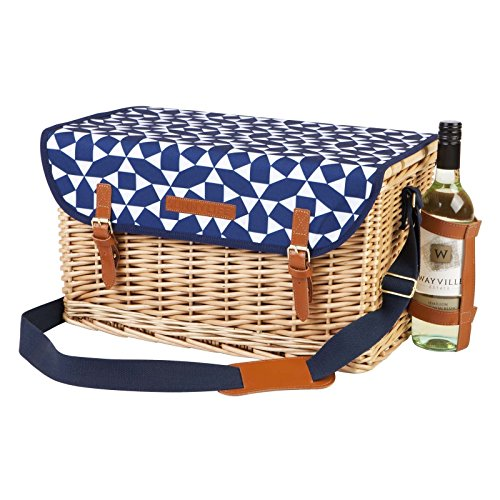Sunnylife Deluxe Traditional 4 Person Country Wicker Picnic Basket with Cutlery - Andaman Blue