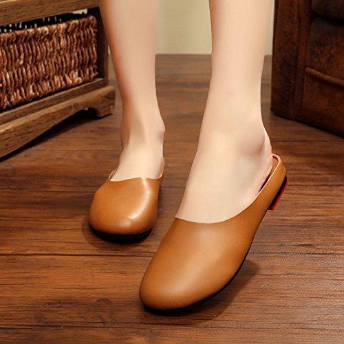 Baotou Littéraire à Original Été Femmes pour Plat Femme GUANG Rétro à 39 39 Chaussures Fond XING Beige Camel Nouveau Chaussures Pantoufles La Main WPcYU77S