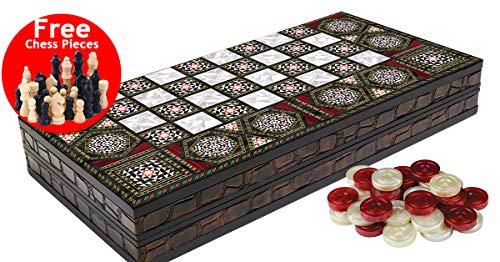 Massive Pearl Wood Magic Black Star Leather Edge Coating Backgammon and Chess Set Turkish Premium Board Game Set - Special Series , Wood , Leather Edge Coating