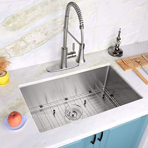 Enbol SD3018, 30 Inch Undermount Single Bowl Stainless Steel Kitchen Sink, Premium T304, 16 Gauge, 10 Inch Deep, 10mm Radius Corner Easy Clean, With Protective Bottom Grid and Strainer