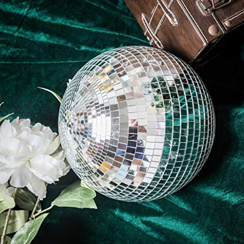 BalsaCircle 16-Inch Large Silver Glass Hanging Party Disco Mirror Ball Wedding Birthday Home Decorations Christmas Ornaments (Disco Glass Mirror)