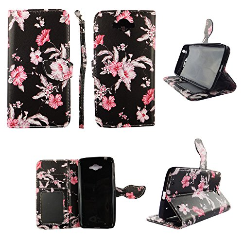 Designs Cash - Pink Flower Black Wallet Folio Case for Motorola Droid Turbo XT1254Dual Layer Interior Design Flip PU Leather Cover Card Cash Slots & Stand