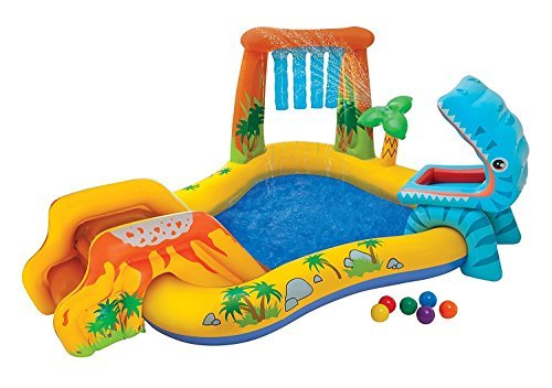 Kids Inflatable Pool. Small Kiddie Blow Up Above Ground Swimming Pool Is Great For Kids & Children To Have Outdoor Water Fun With Slide, Floats & Toys. This Dinosaur Baby Swim Pool - Light & Portable. by Kids-Inflatable-Pool