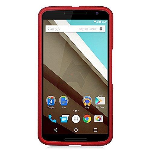 Motorola Google Nexus 6 Case, Eagle Cell Rubberized Hard Snap-in Case Cover for Motorola Google Nexus 6, Red Dark Red Rubberized Snap