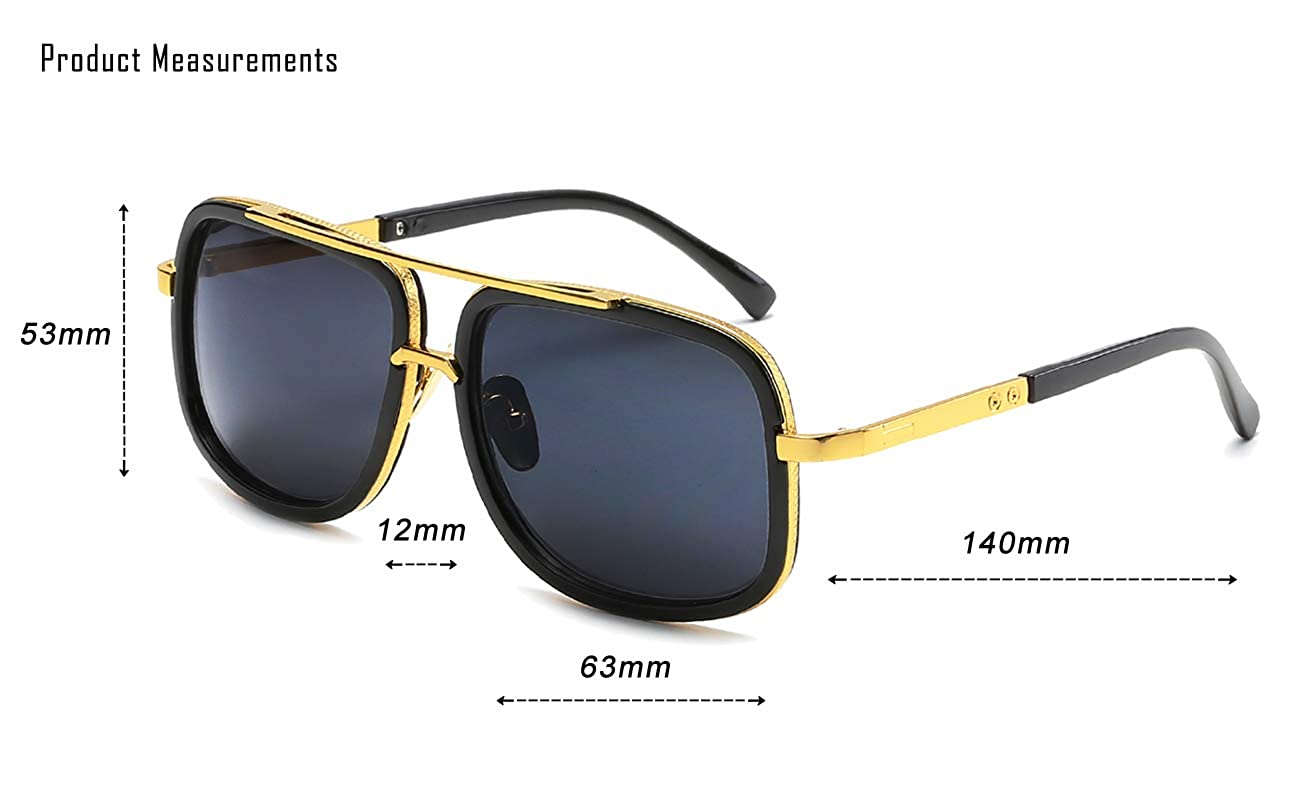 Eyerno Retro Aviator Sunglasses For Men Women Vintage Square Designer Sun Glasses